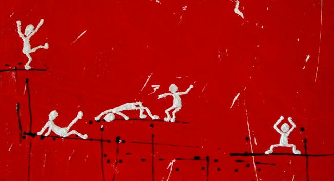 Abstract paining in red showing how people express happy feelings.contemporary artist, art on demand