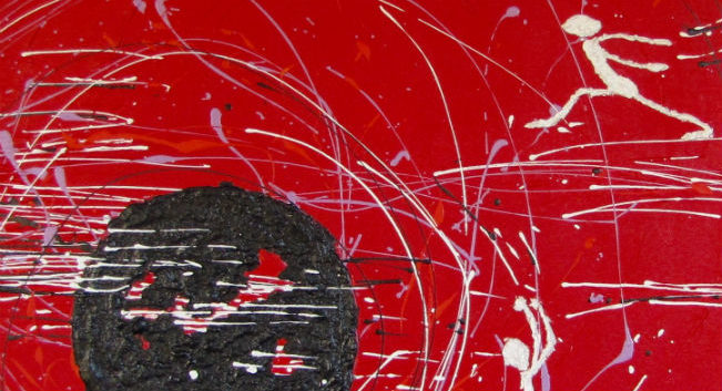 abstract painting, red white and black, pop-art