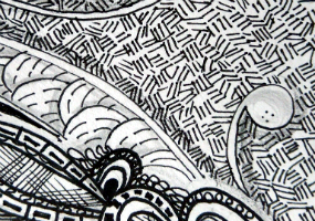 Contemporary art, zentangles, doodles, mixed media, ink, markers, acrylics, collage, art on demand by Rien Arts